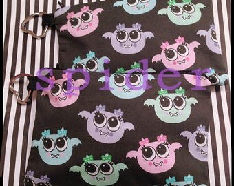 Make up Bag Cutie Batooties TM  Pastel Bats Pouch Cute Gothic Accessories Goth cosmetic bag Little purse Zipper Purse