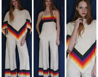 1970's Jumpsuit / Rainbow Dreams Poncho and Pantsuit Set / Bell Bottoms / White Cotton Jumpsuit / Haute Hippie / Seventies Romper