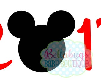 2017 Mickey Mouse Head Disney INSTANT DOWNLOAD Printable Digital Iron-On Transfer Design - DIY - Disney Trip
