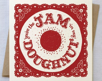 Doughnut Card | Jam Doughnut Card | Valentines Card | Anniversary Card | Love Card | Cards for Boyfriends | Cards for Husbands |