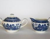 vintage blue willow cream and sugar set by swinnertons staffordshire england