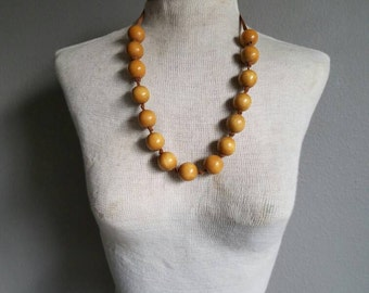 Vintage BOHO WOODEN Ball Tie Up necklace