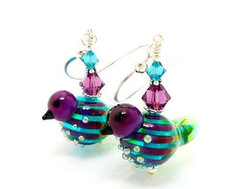 Bird Earrings, Purple and Blue Earrings, Lampwork Earrings, Glass Bead Earrings, Nature Earrings, Glass Earrings, Glass Art Earrings