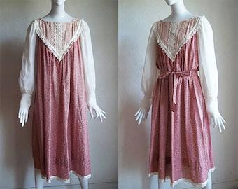 Vintage 70s Gunne Sax Floral Cotton Lace Ribbon Midi Smock Dress L XL