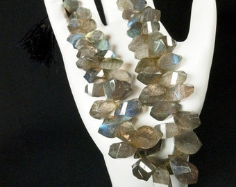 ON SALE Labradorite Twisted Teardrops Step-Faceted Multi-color Blue, Bl Green, Gold  Flash Earth Mined - 10 Beads 8x6 to 9x6mm Discounted