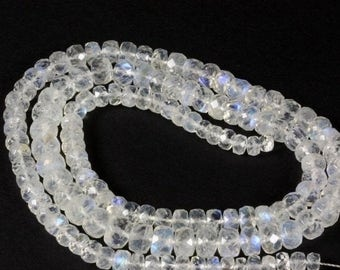 ON SALE Rainbow Moonstone Rondelles Beads Faceted Moonstones Rondels Roundels Earth Mined Gemstone - 3 Inch Strands - 4 to 4.5mm