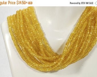ON SALE AAA Yellow Songea Sapphire Rondelles Faceted Sapphire Beads Golden Yellow Earth Mined Precious Stone - 2, 4, 8 or 16-Inch Strand