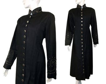 Vintage Black Lew Magram Studded Gothic Military Inspired Coat Size 16