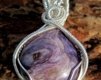 Luscious Lavender/ Charoite and Sterling Silver Wire Wrap Pendant, One of a Kind, Handmade, Art