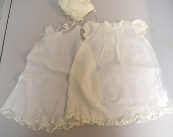 Vintage Handmade Feltman Bros Infant Girls Christening Baptism Gown Slip+ Bonnet