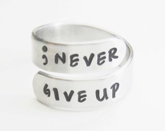 Handstamped ring - Semicolon ring never give up inspirational jewelry recovery gift suicide awareness
