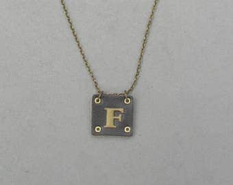 Square Leather F Necklace
