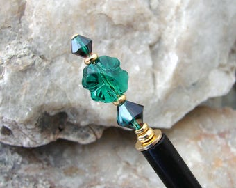 Hair Stick Emerald Green Swarovski Crystal Clover Leaf Hairstick Traditional Hair Pin Shamrock Hair Chopsticks Hair Pick - Phylicia