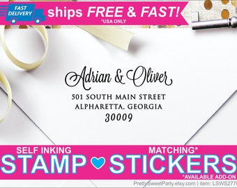 Custom Personalized Self Inking Return Address Stamp LSWS2773 - Great Wedding or Housewarming Gift!