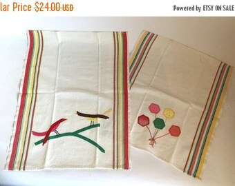 Set of 2 Vintage 1940's Hand Stitched Applique Heavy Cotton Tea Towels with Birds & Flowers