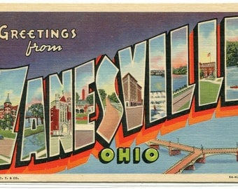Greetings From Zanesville Ohio Large Letter linen postcard