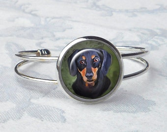 Dachshund Cuff Bracelet ~ Girlfriend Gift ~ Dog Bracelet ~ June Birthday ~ Pet Keepsake ~ Doxie Jewelry