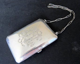 Antique Sterling Silver Purse with Chain,Mirror & Coin Slot