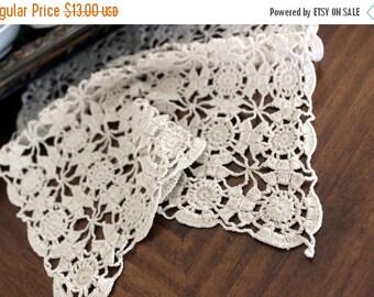 Crochet Doily, Crocheted Placemat, Light Ecru, Vintage Linens,  Hand Crocheted - 13108