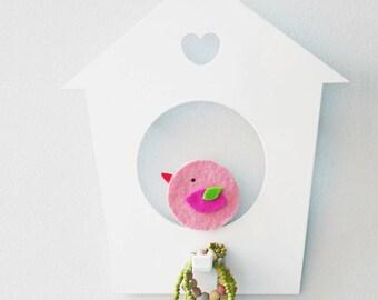 Birdhouse wall hook. Pink bird. Bird kids decor. Scandinavian style. Baby wall hanger. Nursery decor. Wall hook for kids. Baby wall decor