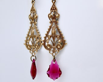 Swarovski Ruby Earrings, Long Victorian Earrings, Art Deco Earrings, Burgundy Baroque Crystal, Renaissance, July Birthstone Jewelry, Elegant