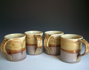 Hand thrown stoneware pottery mugs set of 4  (M-28)