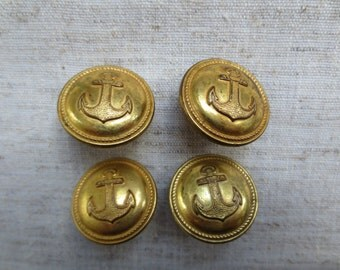 Vintage nautical anchors away gold tone rope edge design metal shank buttons. Lot of 4 buttons.