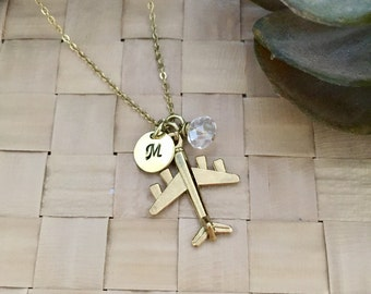 Airplane Necklace, Travel Necklace, Initial Necklace, Hand stamped Necklace, Best friend Gift, Handmade Jewelry, Bridesmaid Gift, Friendship