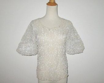 Vintage 1960s Blouse / 60s Ivory Sheer Beaded Blouse / 60s Ivory Sequin Blouse - M