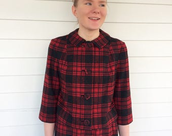 Red Plaid Wool Suit Pendleton Skirt Set Retro 60s Vintage S M