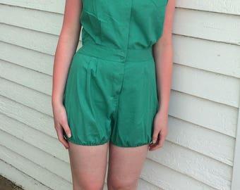 Vintage Gym Uniform Body Suit Green Romper 60s Athletic Phy Ed Playsuit S M