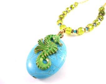 Seahorse Necklace - Summer Jewelry Trend - Mermaid Necklace - Beach Jewelry Women - Beach Jewelry Ideas - Blue Beach Jewelry - Blue Ocean