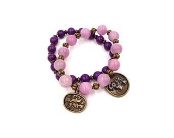 Purple Jade Bracelet - Wife Gift - Gift for Her - Crystals Bracelet - Charm Bracelet - Bohemian Bracelet - Elephant Bracelet - Jade Stone