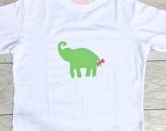 Kids - Elephant - Pink Bow - Animal - Zoo - Jungle - Saphari - Toddler T-Shirt or Baby Onesie