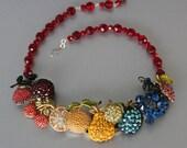 Rainbow of Fruit Flavors Rhinestone Statement Necklace