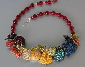 Rainbow of Fruit Flavors Rhinestone Statement Necklace