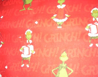 Grinch on red-  Cotton Fabric - 15 inches wide and sold by the yard
