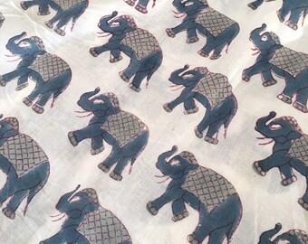 Block Printed Indian Elephant Fabric