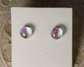 "Dichroic Glass Earrings Green Tint, Red & Violet  5/16"" DGE-919"