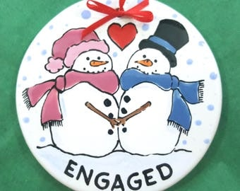 Engaged Ornament,Couple Ornament,Engagement Christmas Ornament,Snowman Ornament,Personalized Ornament,Xmas Ornament, Christmas Gift, Engaged
