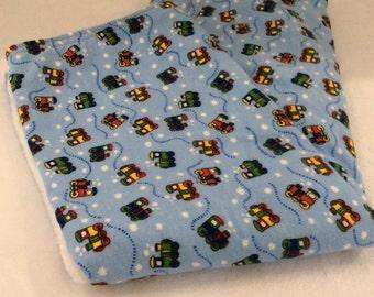 Baby Boy Blanket Minky Trains Blue