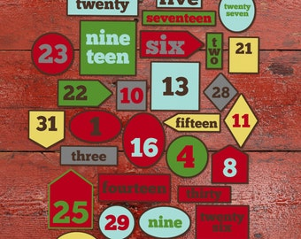 "Countdown Numbers ""December Cheer"", Printable"