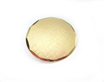 Vintage Monet Brushed Gold Solid Circle Pin Brooch Jewelry 1960s