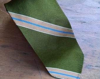Mid Century Modern MCM olive green tie 1950s to 1960s preppy striped skinny tie
