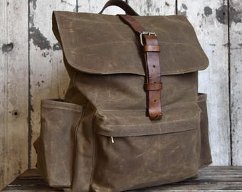 Waxed Canvas Backpack Rogue, Truffle Brown Rucksack, Waxed Canvas Bag, Bicycle Bag, Waxed Canvas Travel Bag, Leather, Diaper Bag Backpack