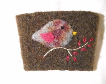 Felted Wool Rosy Bird Coffee Cozy