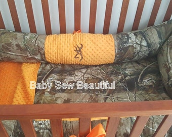 Custom Personalized Real Tree Camo Crib Bumper in your choice of fabrics and minky you design