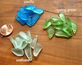 5 / 10 pcs 17mm 20mm Pacific Blue Seafoam Spring Green SMALL freeform nugget pebble mix drop sea beach glass beads pendant