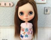 Pink Embroidery Top for Blythe Doll