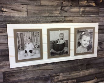 Distressed wood picture frame triple 8x10 white and khaki brown